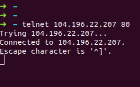 Telnet command output when connection is successful